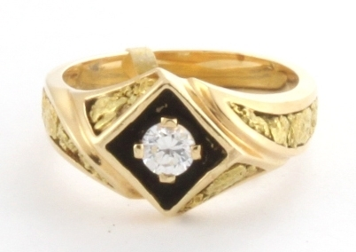 CZ & Natural Nugget Men's Ring 14KY