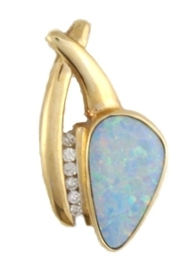 Opal & Diamond Pendant 14K Yellow
