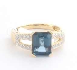 Simulated Zircon & Diamond Ring 14KY