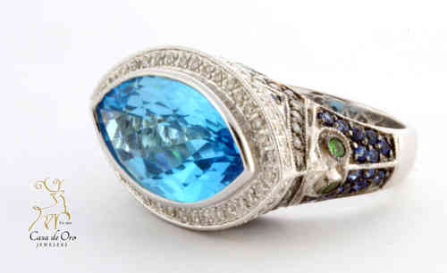 Blue Topaz Ring 18K White