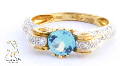 Blue Topaz & Diamond Ring 10K Yellow