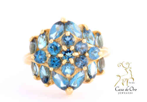 Blue Topaz Ring 10K Yellow