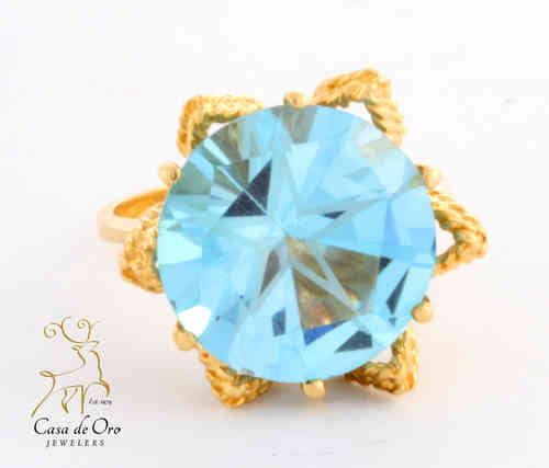 Blue Topaz Ring (Lone Star Cut) 14KY