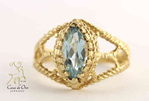 Blue Topaz Ring 14K Yellow