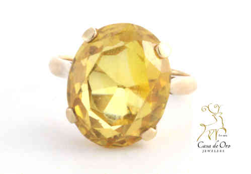 Simulated Citrine Ring 14K Yellow