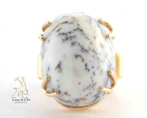 Dendritic Opalized Tree Ring 14K Yellow