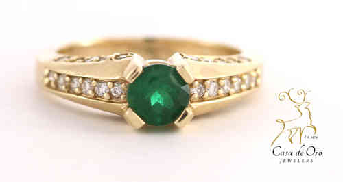 Emerald & Diamond Ring 14K Yellow