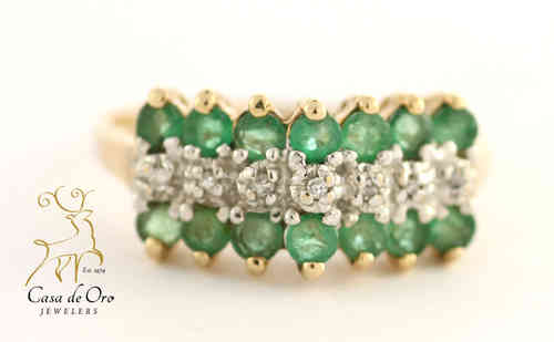 Emerald & Diamond Ring 10K Yellow
