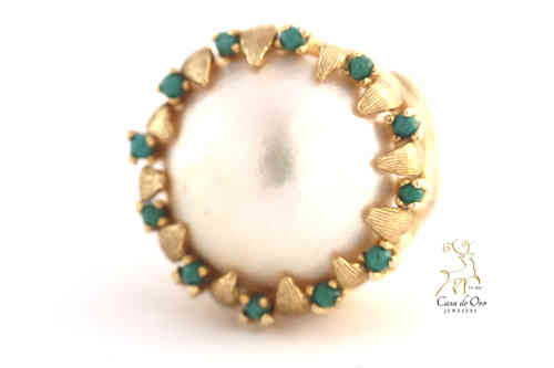 Pearl & Turquoise Ring 14K Yellow