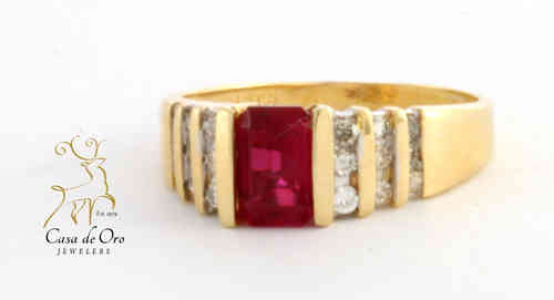 Ruby (Simulated ) & Diamond Ring 14KY