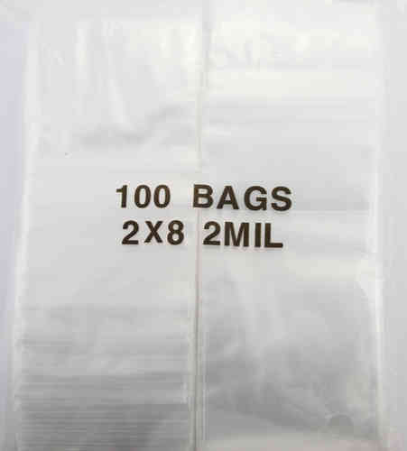 Plastic Zip Lock Bags - 2x8 - 1000pc