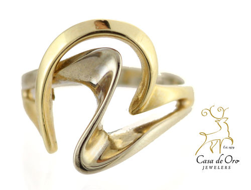 Gold Swirl Ring 14K Two Tone