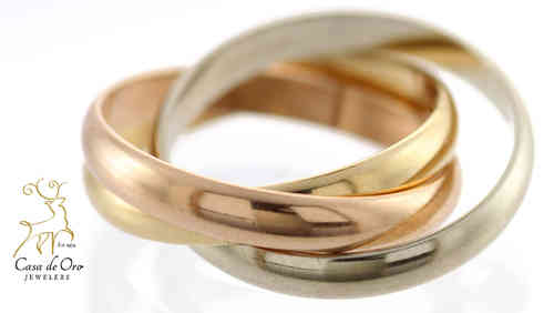 Gold Triple Ring Band 14K Tri-Color