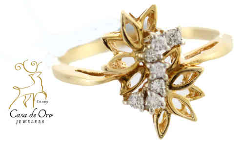 Diamond Floral Top Ring 14K Yellow