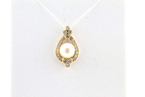 Pearl & Diamond Pendant 14K Yellow