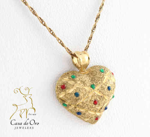 Enameled Heart Pendant 10K Yellow