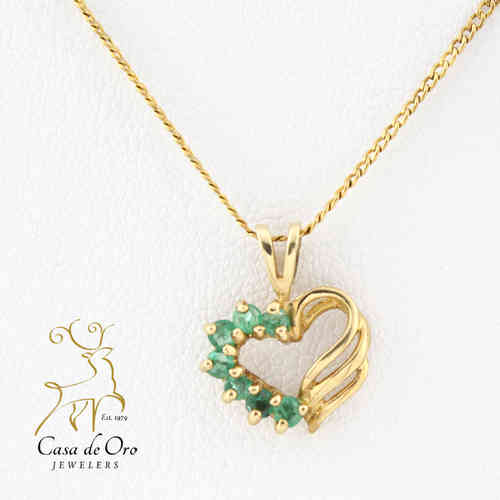 Emerald Heart Pendant 10K Yellow