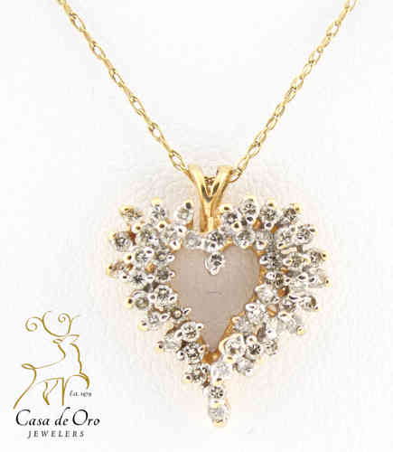 Diamond Heart Pendant 14K Yellow
