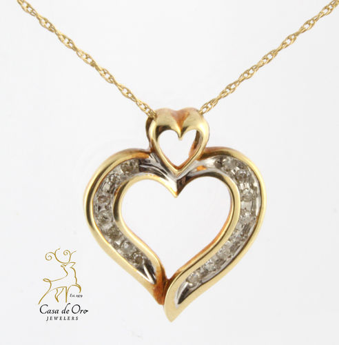 Diamond Heart Pendant 10K Yellow
