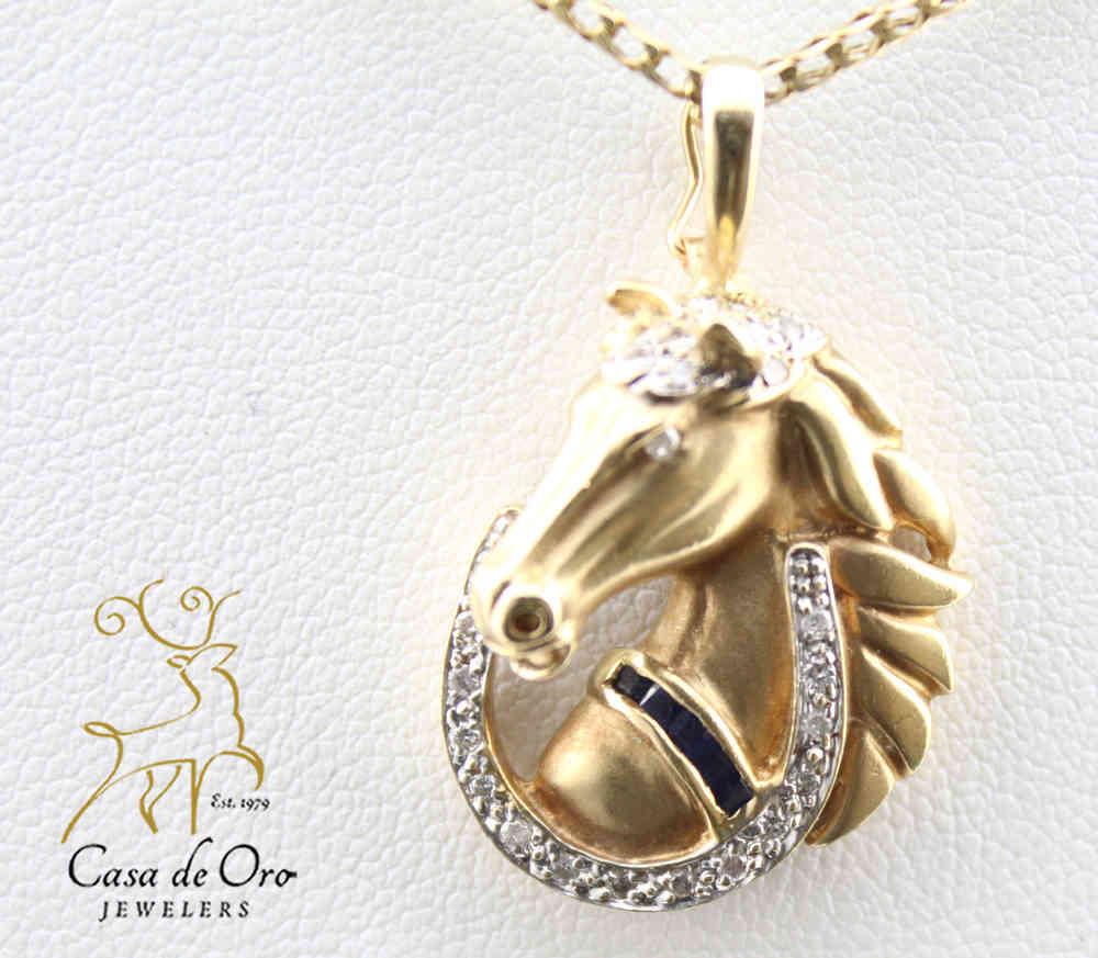 Sapphire diamond horse pendant 14ky casa de oro jewelers sapphire diamond horse pendant 14ky aloadofball Choice Image