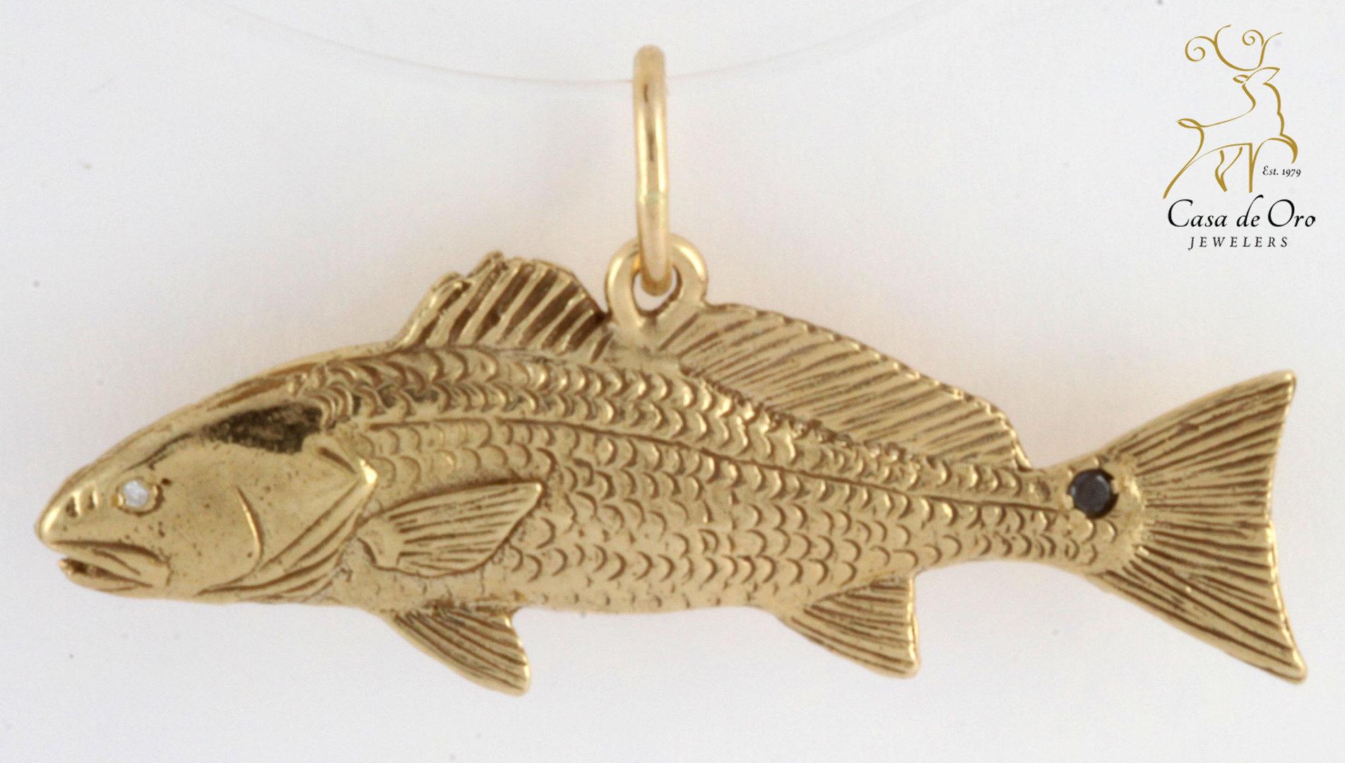 Redfish Pendant W Black Spinel 14ky Casa De Oro Jewelers