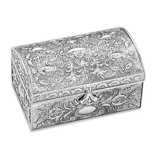 Antiqued Silver Plated Chest Jewelry Box