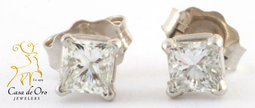 Diamond Earrings Princess Cut 14K White
