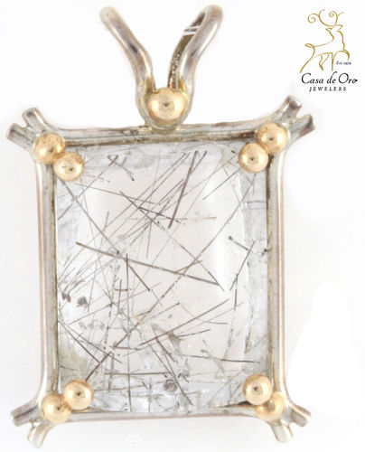 Tourmalated Quartz Pendant 14KY/Sterling