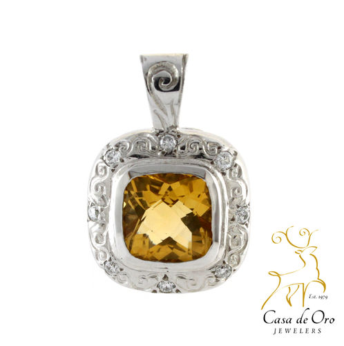 Citrine & Diamond Pendant 14K White