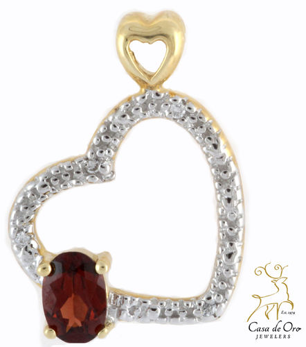 Garnet & Diamond Heart Pendant 14K Yellow