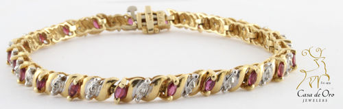 Garnet & Diamond Bracelet 14K Yellow