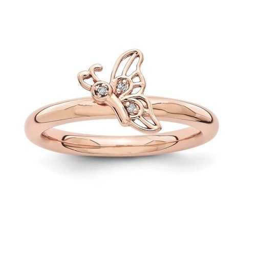 Pink-plated Butterfly w/Diamond Ring