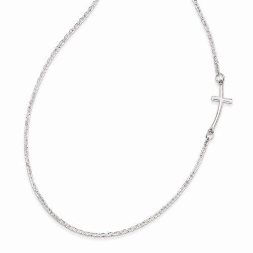 Sterling Silver Sideways Cross Necklace-SM