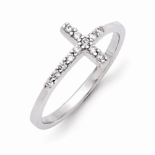 CZ Sideways Cross Ring Sterling