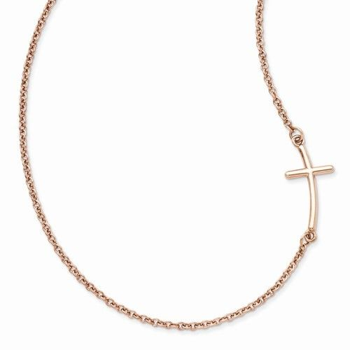 Rose Gold-plated Sideways Cross Necklace