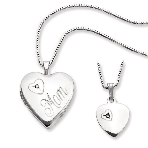 Diamond Heart Locket & Pendant Set