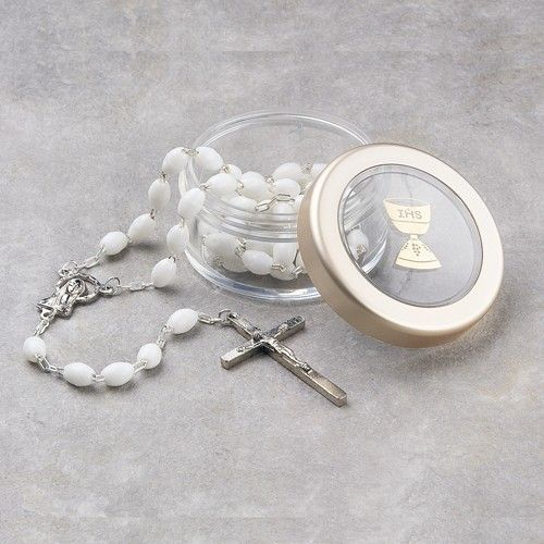 First Communion White Rosary and Clear Box