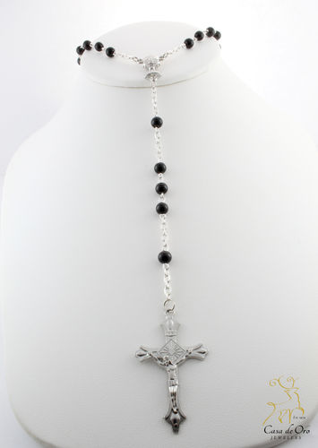 First Communion Black Rosary and Clear Box