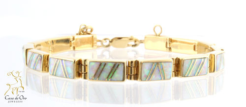 Opal (Synthetic) Bracelet 14K Yellow