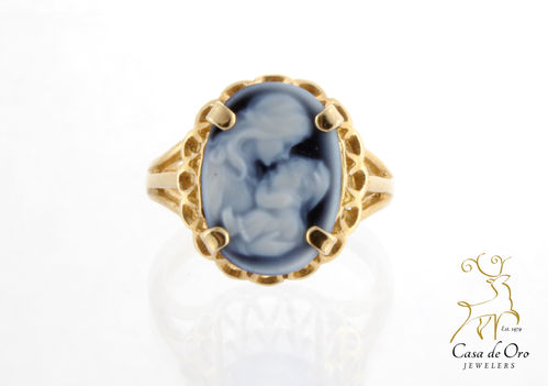 Blue Cameo Mother/Child Ring 10KY