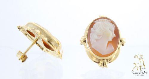 Cameo Earrings 14K Yellow