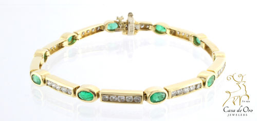 Emerald & Diamond Bracelet 14K Yellow