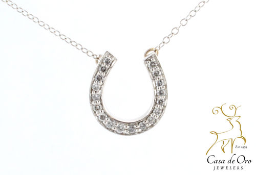 Diamond Horseshoe Pendant 14K White