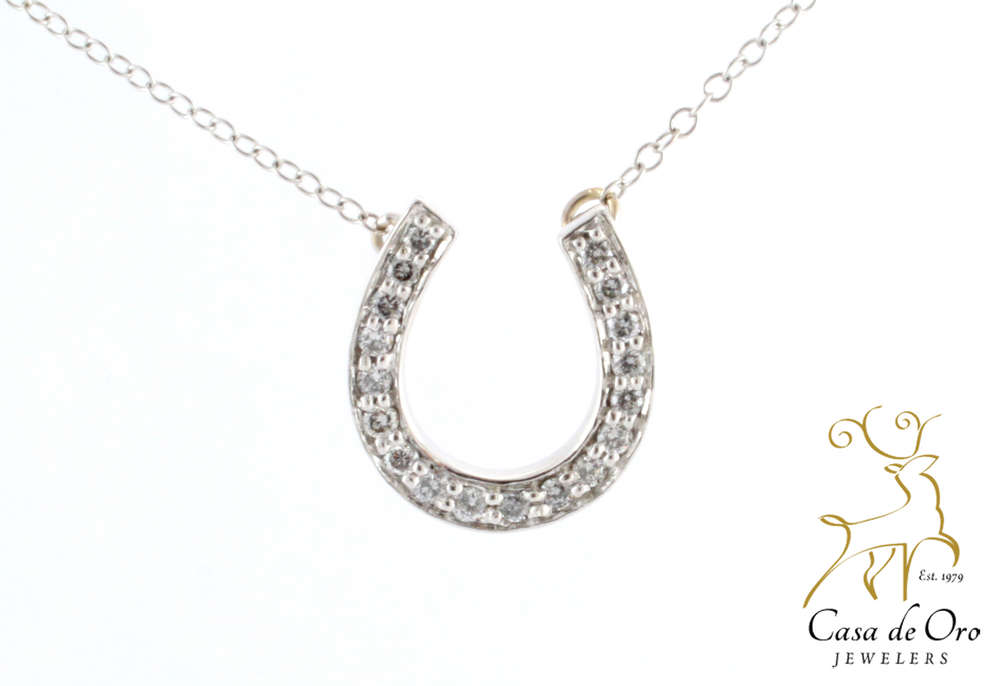 Diamond horseshoe pendant 14k white casa de oro jewelers diamond horseshoe pendant 14k white aloadofball Image collections