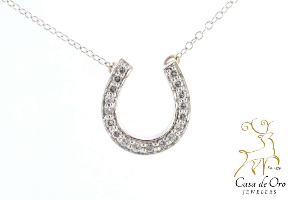 Diamond horseshoe pendant 14k white casa de oro jewelers diamond horseshoe pendant 14k white aloadofball Choice Image