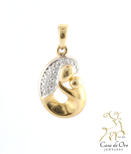 Diamond Mother & Child Pendant 14KY
