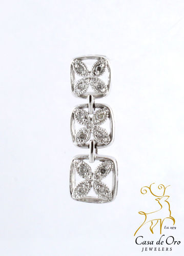 Diamond Flower Pendant 14K White