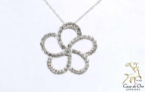Diamond Swirl Pendant 14K White