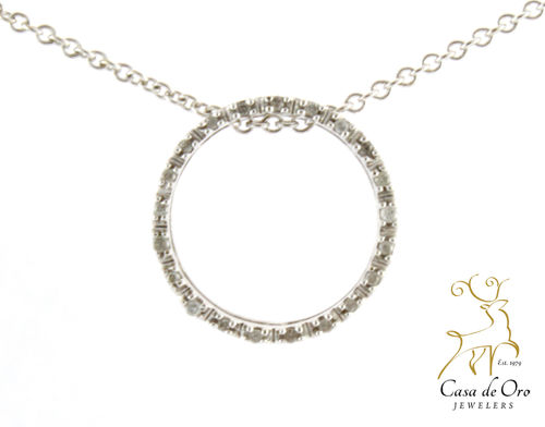 Diamond Circle Pendant 14K White