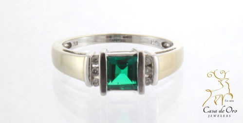 Emerald (Lab Grown) & Diamond Ring 14KW
